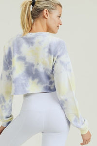 Terry Jacquard Tie-Dye Crop Pullover