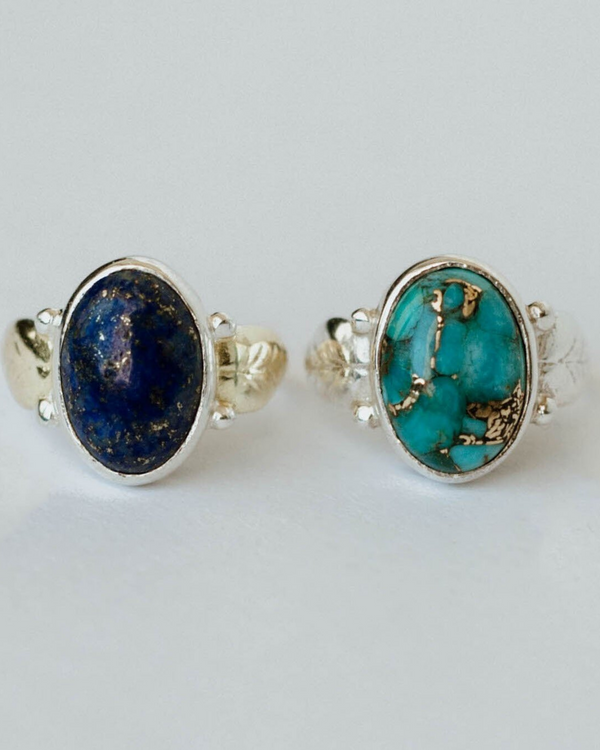 Full Bloom Ring-Genuine Lapis or Turquoise
