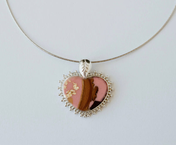 BEST SELLER.  Gracious Heart Necklace - Pink Jasper/Silver