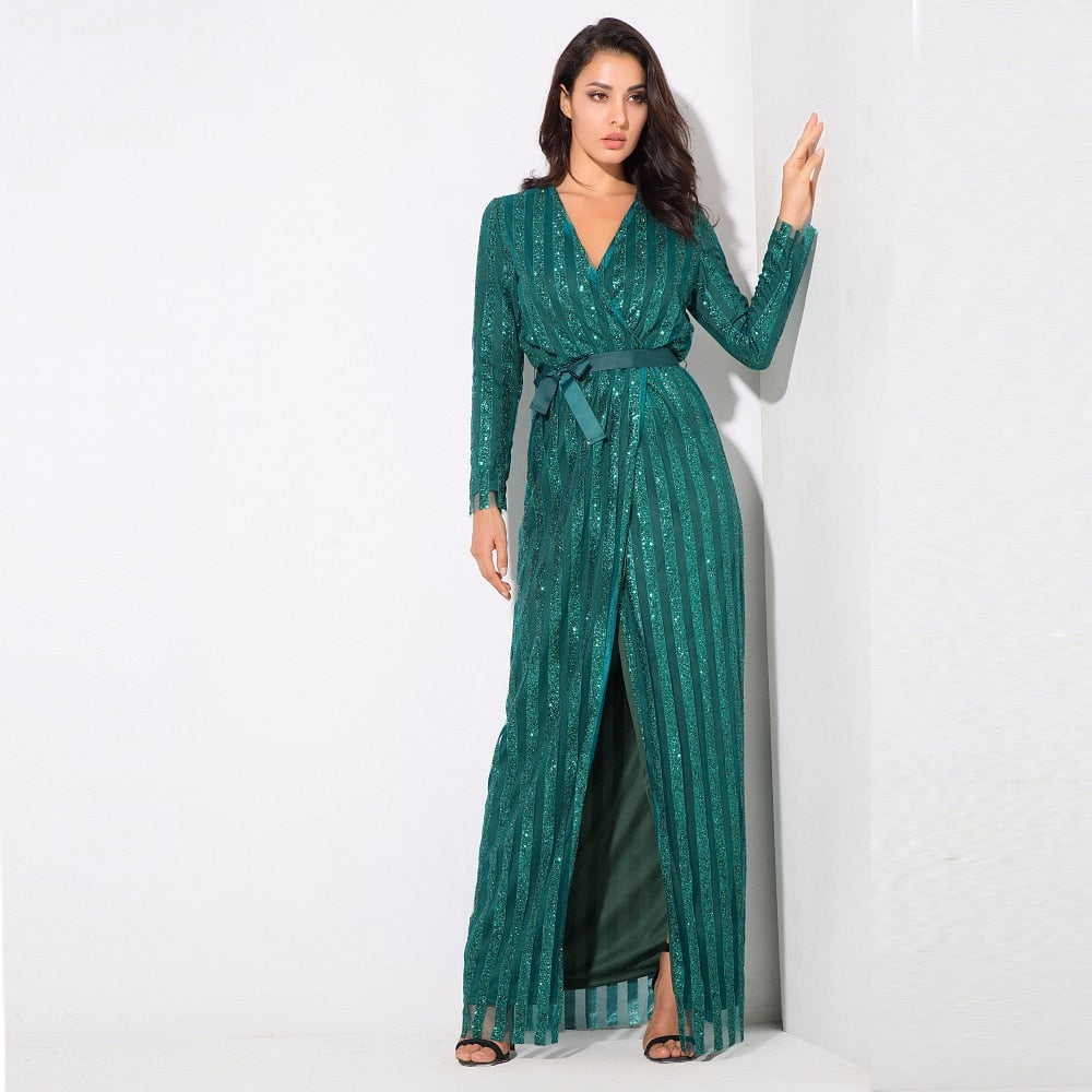 Stripes Cross V Collar Body Long Dresses Green/Silver/Gold/Black/Red