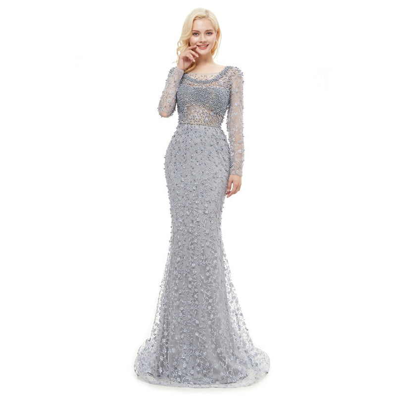 Long Sleeves Mermaid Women Elegant Lace Evening Dress 2018 Backless Women Party Evening