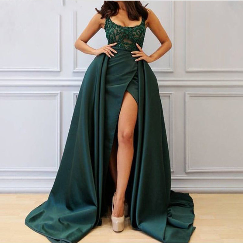 Long Abendkleider Green Arabic Dubai Woman Evening Dress 2018 with Slit Formal Elegant Prom Party Gown Robe De Soiree
