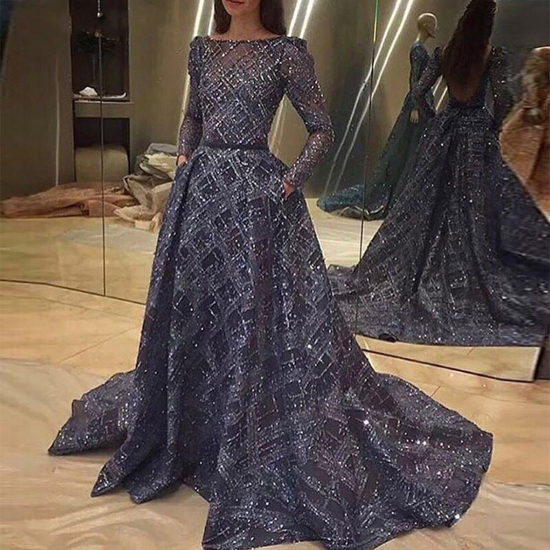 Long Sleeves Glitter Navy Blue Backless Arabic Evening Dress 2018 Dubai Formal Evening