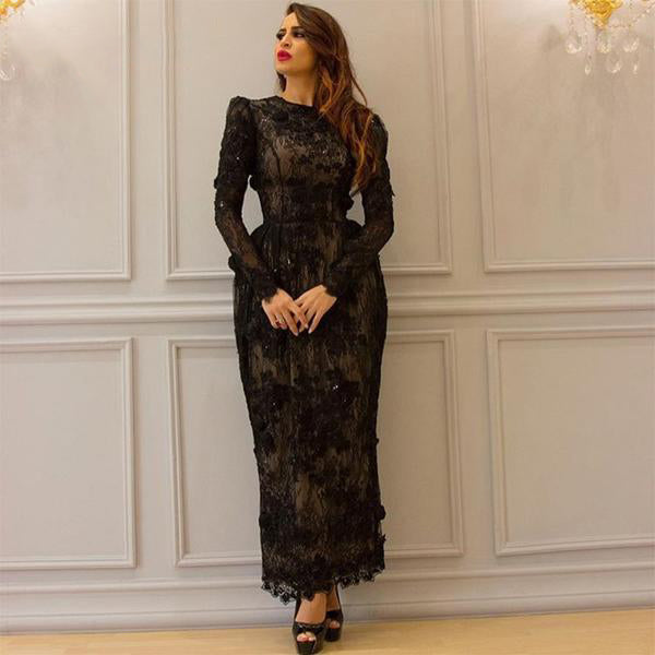 Long Sleeve BlackElegant Lace Evening Dress 2018