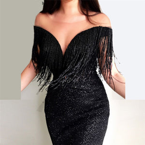 Long Glitter Evening Dresses 2018 Mermaid Black Abendkleider Saudi Arabic Prom Gown with Tassels