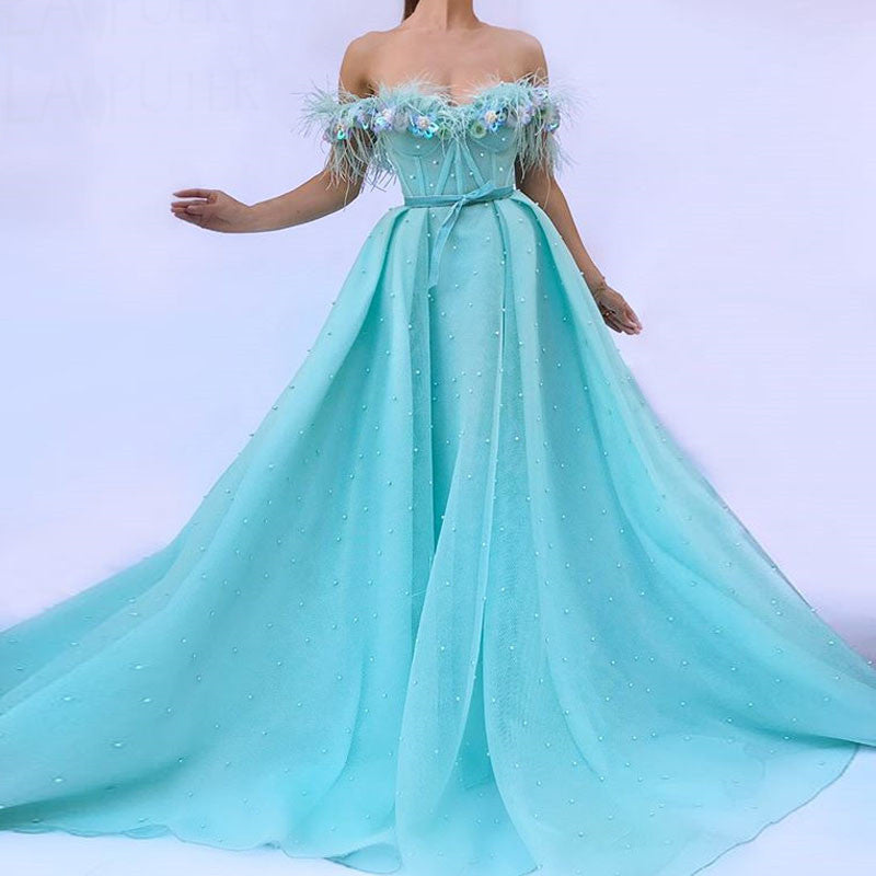Long Feather Robe Evening Dresses 2018 A Line Blue Abendkleider Saudi Arabic Prom Gown