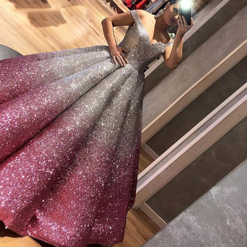 Long Ball Gown Arabic Evening Dress 2018 kaftan Dubai Glitter Formal Evening Gowns