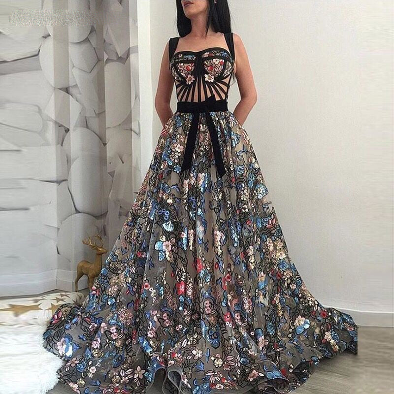 Long Luxury Floral Embroidery Lace Evening Dress 2018
