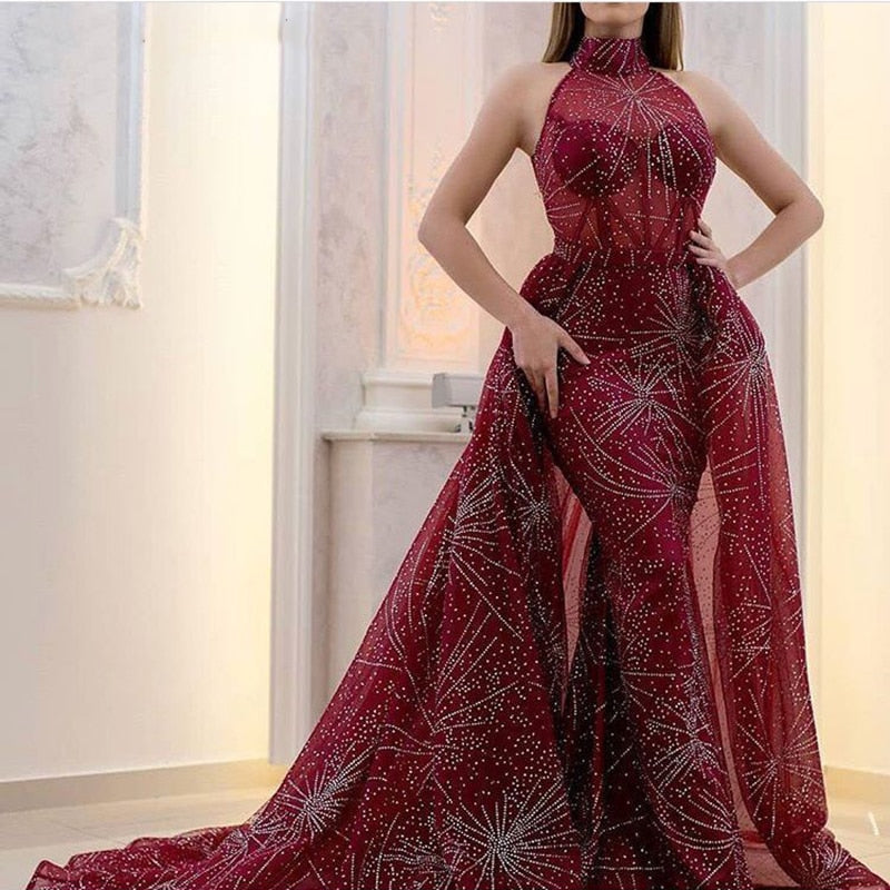 Long High Neck Mermaid Burgundy Evening Dress 2018 with Detachable Skirt kaftan