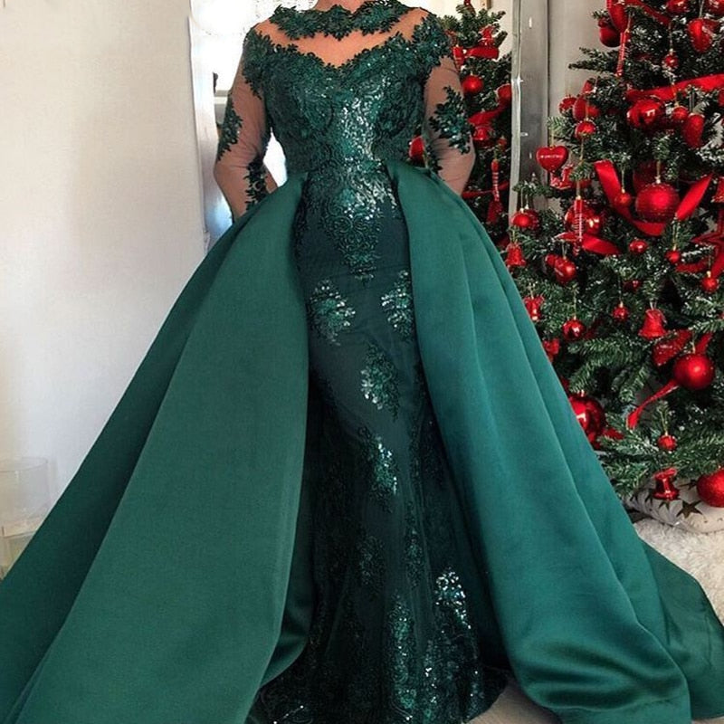 Custom Make Long Green Caftan Arabic Long Sleeves Evening Dress 2018 with Detachable Skirt