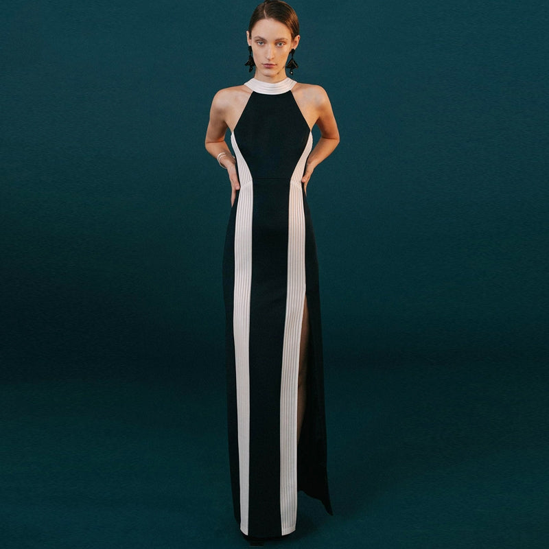 Fashion Mesh Striped Color Block Long Dress Sexy Sleeveless O Neck Wholesale Celebrity Party