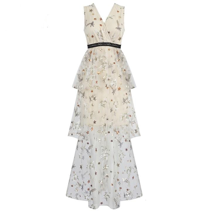 Stylish Embroidery Sequins Design Long Dress Sexy Vneck Sleeveless Dress Female