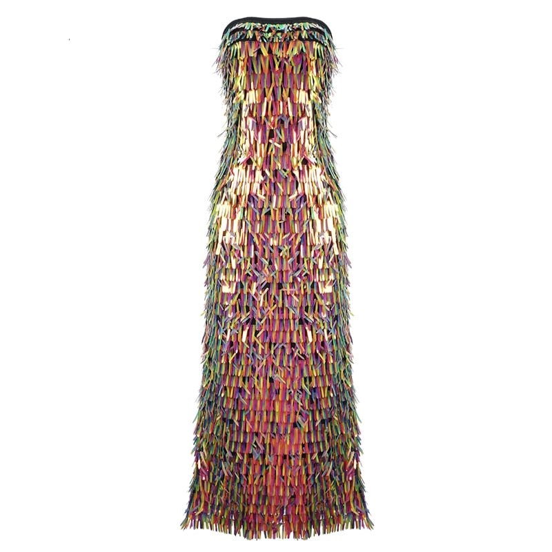 Chic Colorful Sequins Tassels Long Dress Sexy Strapless Sleeveless Backless Wholesale Celebrity