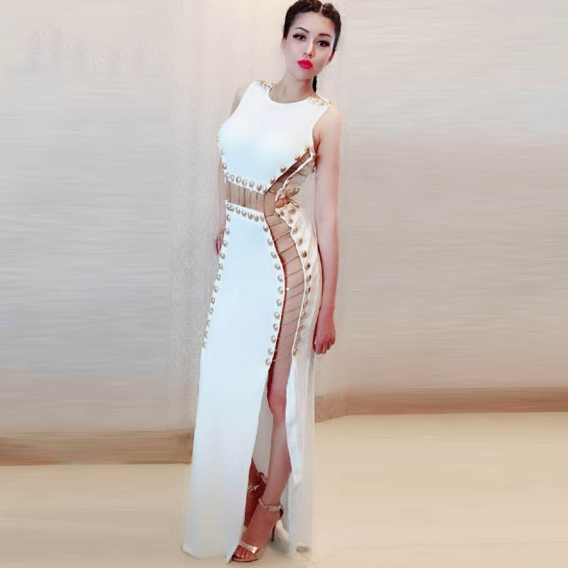 Chic Golden Button Chain Design Long Dress Sexy Hollow Out Sleeveless Wholesale Celebrity Party Club Dress
