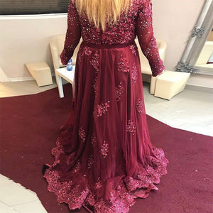 Long Sleeve Plus Size Burgundy Crystals Woman Evening Dress 2018 Formal Elegant Party Gown