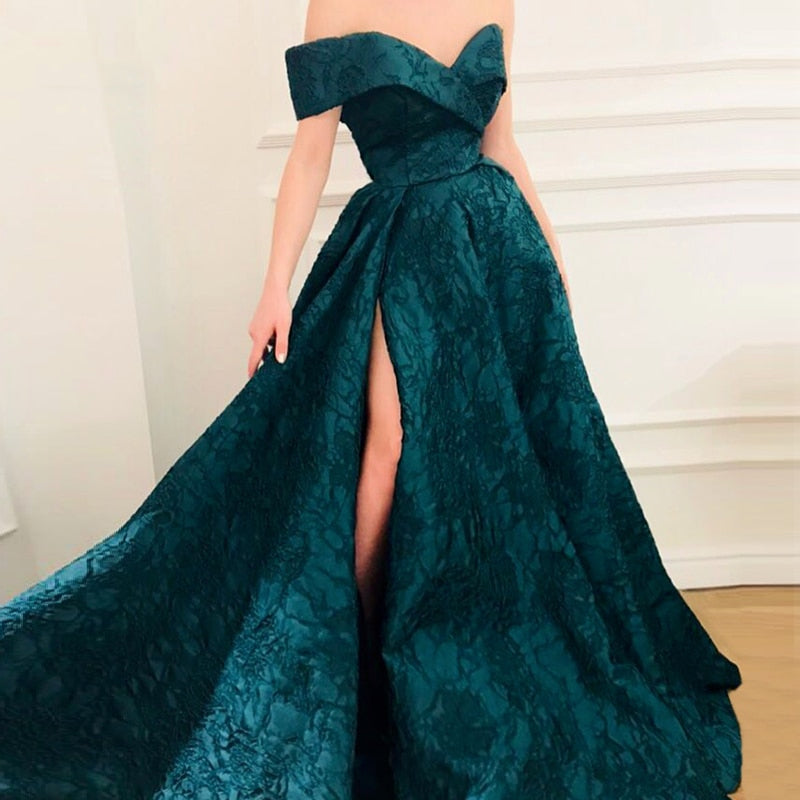 Evening Dress Off Shoulder Saudi Arabic Prom Dresses Long 2018 Party