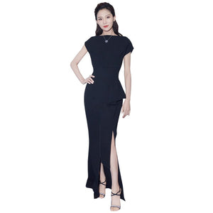 boat neck short sleeve high slit ankle length ruched peplum dress female clothing womens black dress tight women party dresses