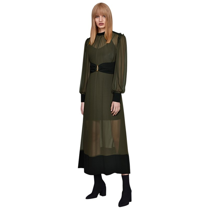 new arrival 2019 black and army green patchwork ladies sexy transparent fashion dress stand collar long sleeve a line maxi dress