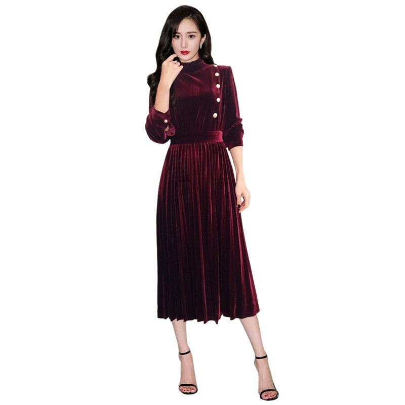 new trends 2019 women gold buttons burgundy / green velvet dress ruffled collar long sleeve women pleated dress drop shipping