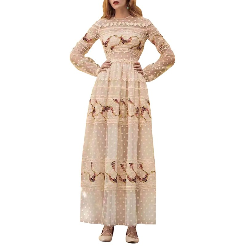 runway dress designers 2019 summer clothes women embroider floral beige sexy mesh dress o-neck long sleeve a line ankle dress