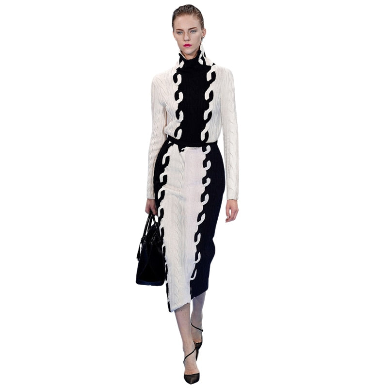 beige and black patchwork women knitted dress runway clothing high fashion winter woman dress midi bodycon long turtleneck dress