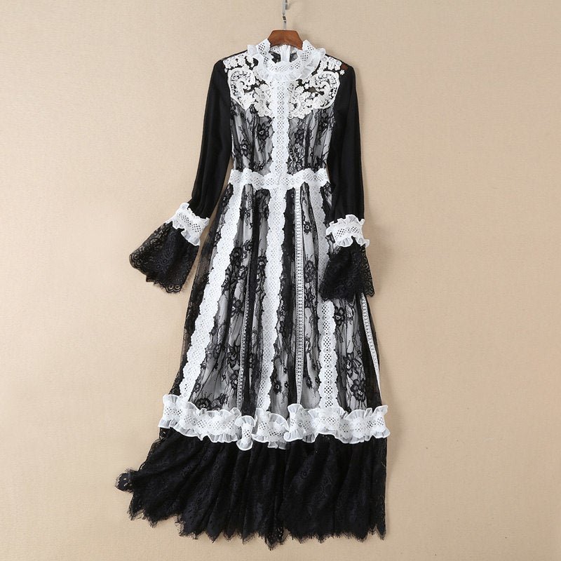 black and white patchwork crochet ruffle lace vintage dress stand collar flare long sleeve a line ankle length sheer long dress