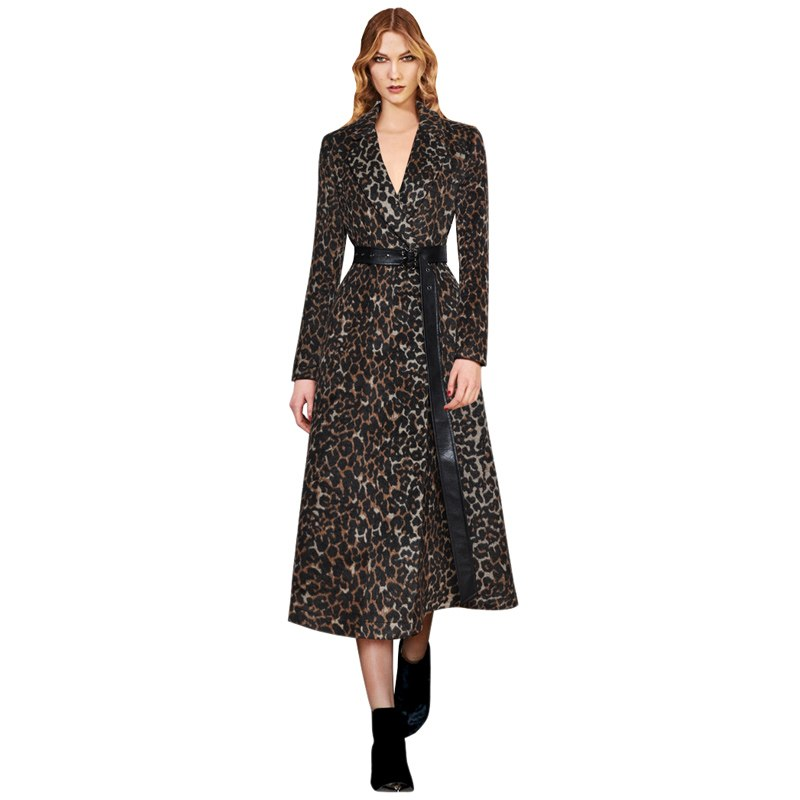 women runway 2019 luxury brand clothes leopard dress notched collar leather belt long sleeve a line winter thick warm dress