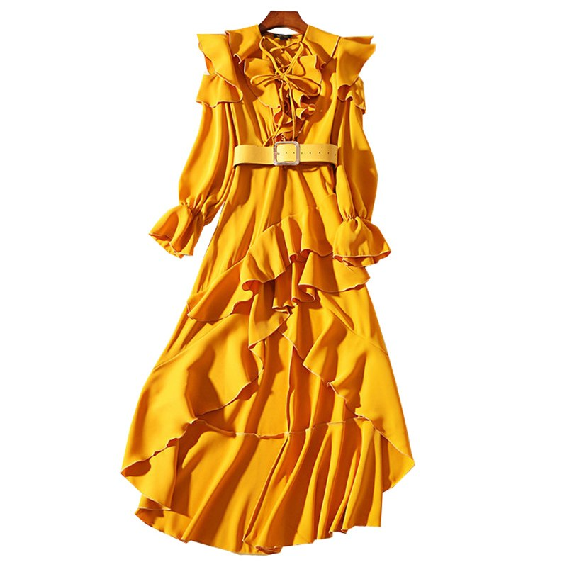 catwalk fashion women mustard yellow flouncing ruffled dress string lace up v neck flared 3/4 sleeves high low long casual dress