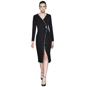 crystal beaded buttoned wrap dress v neck long sleeve front slit mid-calf length ladies black dress women bodycon tight dress