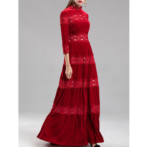 navy blue / wine red cut out crochet lace patchwork elegant velvet dress maxi party dresses for women long elegances dresses