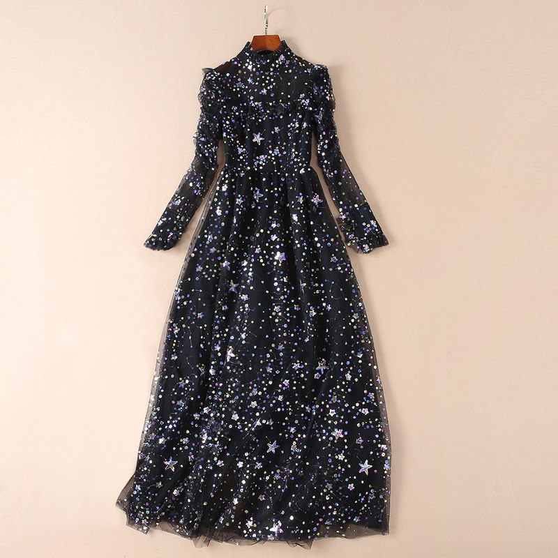 stars sequin mesh dress fashion voile sexy women clothes beige / black elegant party dress ruffle neck long sleeve maxi dress