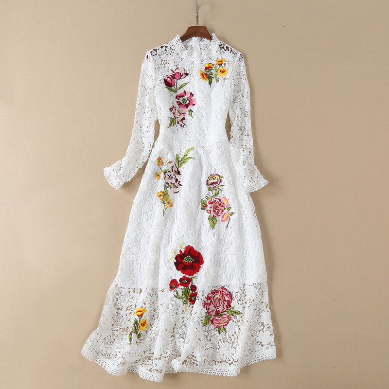 floral embroidered black / white lace party dress 2019 women clothes fashion dress o-neck long sleeve a line transparent dress
