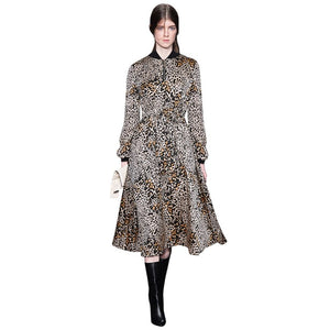 2019 runway women clothing leopard print dress ribbed v neck front zipper elastic waist long sleeve a line womens midi dresses