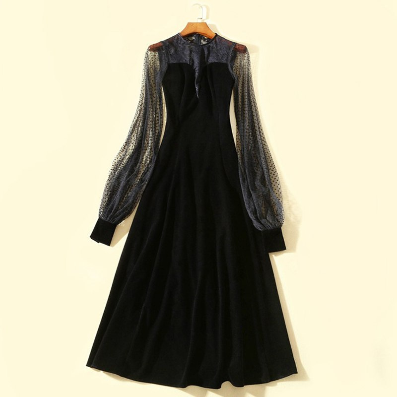 sexy black dress for women polka dot retro lace sheer long dress round neck long sleeve full length ladies runway dresses sale