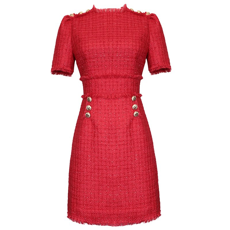 festival clothing new fashion winter tweed dress ladies red christmas dress fringe raw trims gold buttons office sheath dress