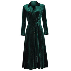 runway clothing green / black velvet long glitter dress v neck tie belt long sleeve a line midi dresses elegant women's dress
