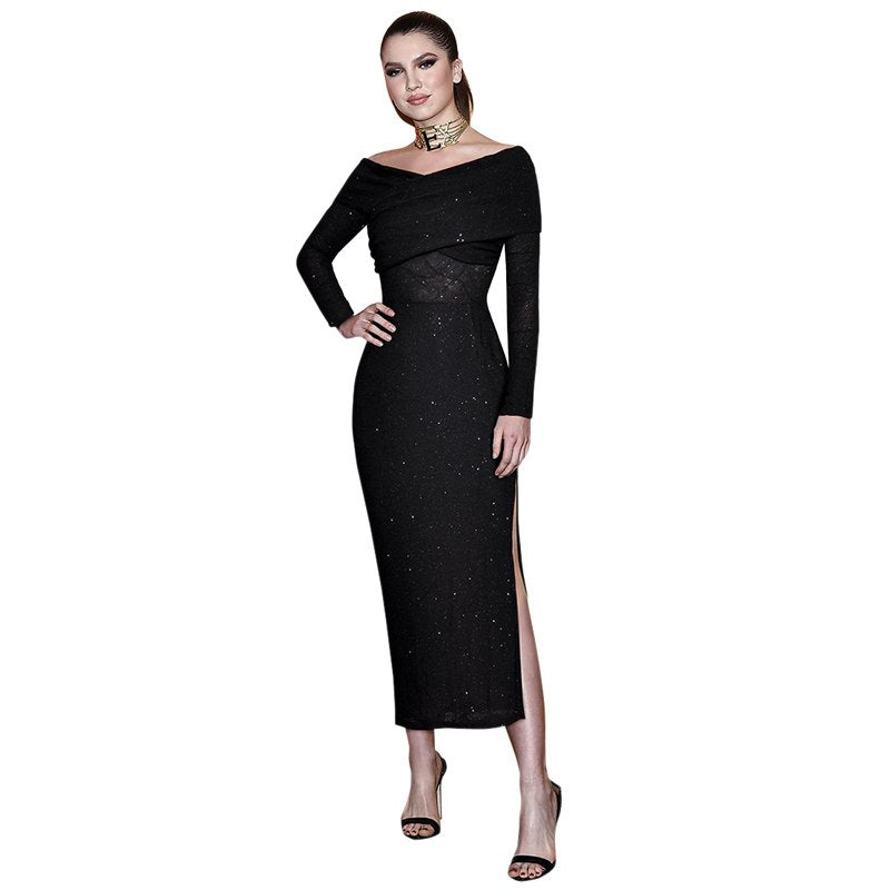 womens 2019 clothing black sparkly dress ruched off shoulder v neck long sleeve side opening mid-calf length tight long dress