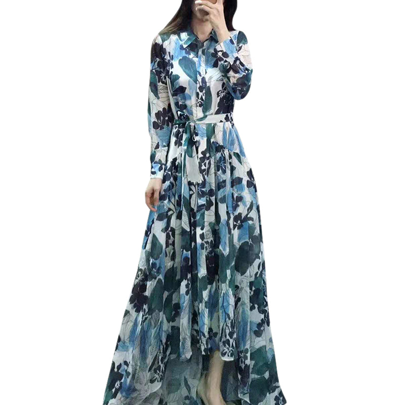 2019 spring bohemian clothing printed dress turn-down collar button down sash belt long sleeve high low maxi women dresses