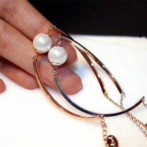 YUN RUO Fashion Brand Rose Gold Silver Colors Pearl Beads Bracelet Charms 316L Stainless Steel Jewelry for Woman Prevent Fade