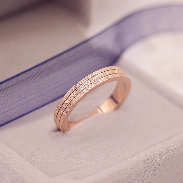 YUN RUO Brand Rose Gold Color Frosted Ring for Woman Girl Gift Couple Jewelry 316 L Stainless Steel Ring Never Fade Top Quality