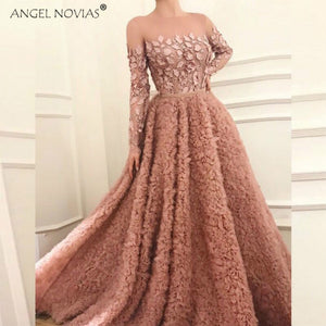 Long Sleeves Pink Abendkleider Saudi Arabic Women Ladies Evening Dresses 2018