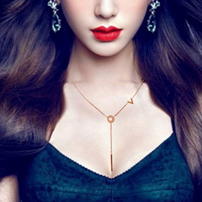 YUN RUO Fashion Brand Woman Jewelry Rose Gold Color Micro Zircon LOVE Pendant Necklace 316 L Stainless Steel Bijoux Femme Gift