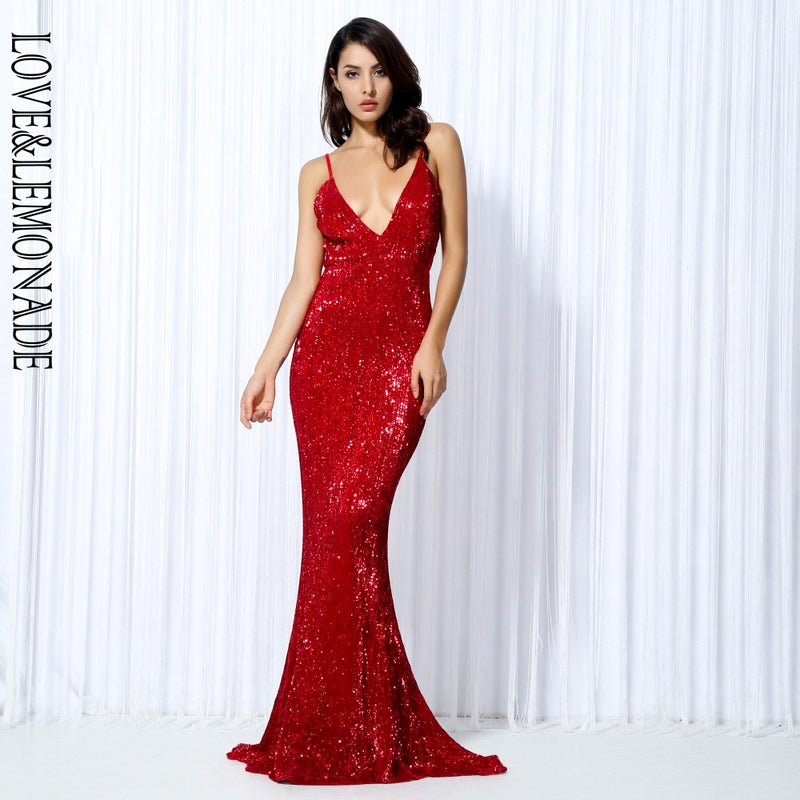 Love&Lemonade  Red Elastic Sequin  Exposed Back Long Dress LM0055
