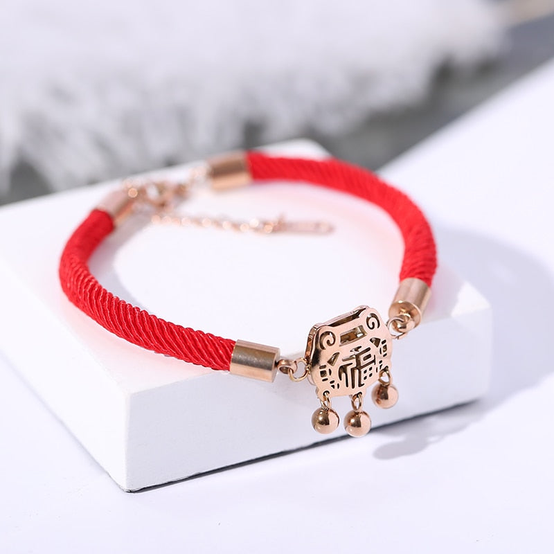 YUN RUO New Arrival Longevity Lock Red Line Bracelet Fashion Woman Girl Gift Rose Gold Color Titanium Steel Jewelry Never Fade