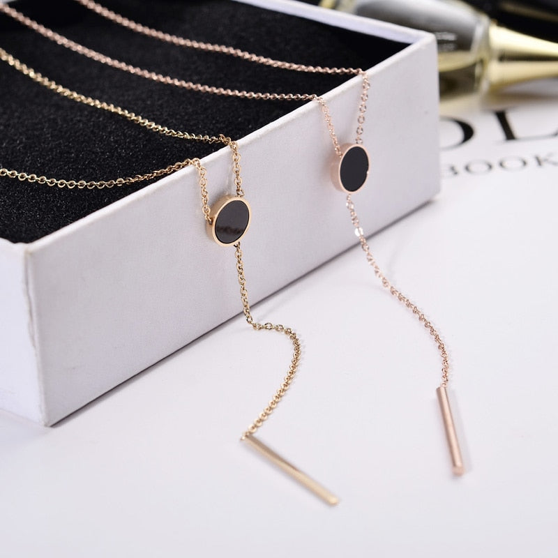 YUN RUO Fashion Brand Rose Gold Color Woman Jewelry Vintage Black Round Tassel Pendant Necklace 316L Stainless Steel High Polish