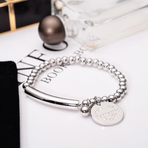 YUN RUO Fashion Brand Rose Gold Silver Colors Adjustable Bean Bracelet  316 L Stainless Steel Jewelry for Woman Prevent Fade