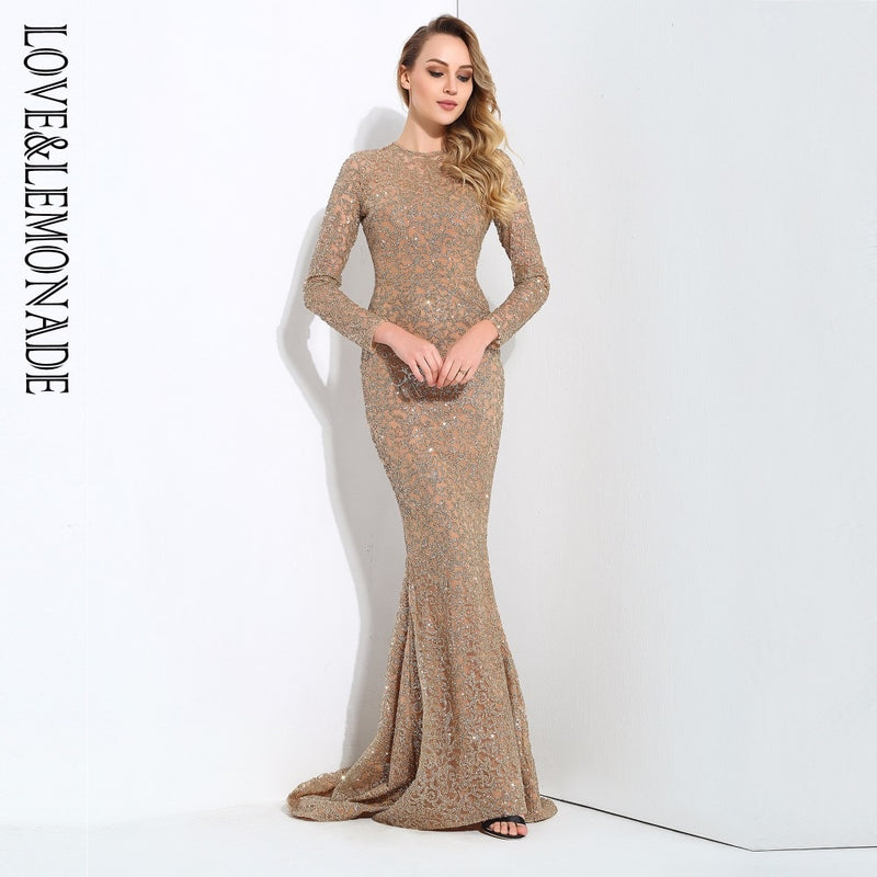 Love&Lemonade    Gold Flower Vine Tail Shape Glitter Long Dresses LM0653