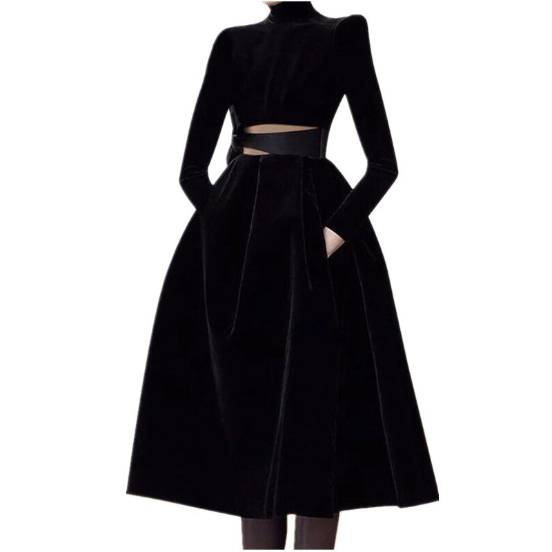 HAMALIEL Runway Winter Women Big Swing Party Dress Casual Black Velvet Patchwork Mesh Stand Collar Dess Sexy Hollow Out Dress