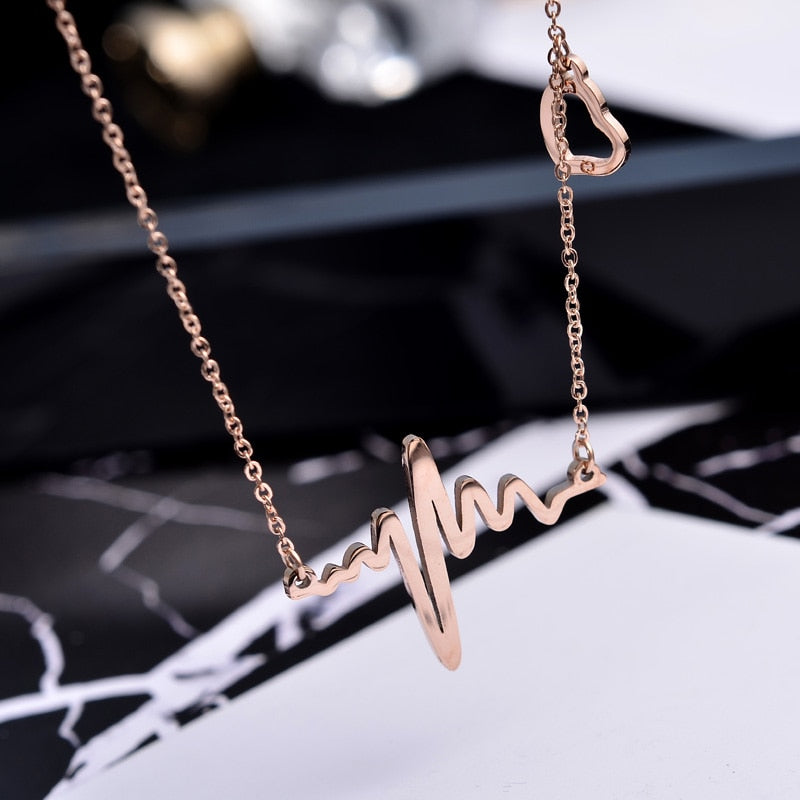 YUN RUO Rose Gold Color Elegant Heartbeat Pendant Necklace for Woman Girl Fashion Gift 316 L Stainless Steel Jewelry Collar