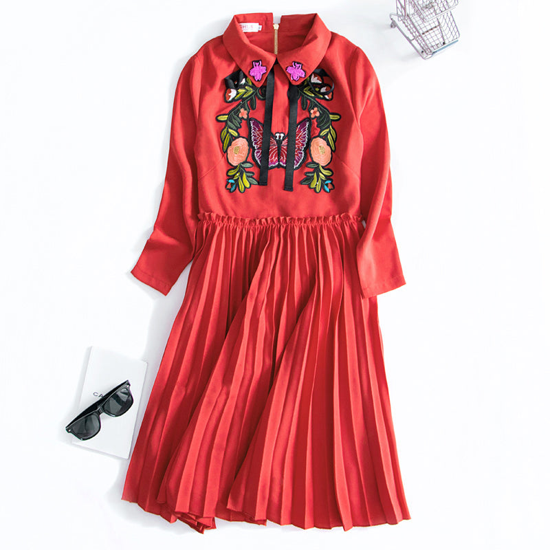 Ky&Q 2017 Runway Designer Dress Vintage Chinese Style Peter Pan Collar Bow Butterfly Floral Embroidery Pleated Red Women Dresses